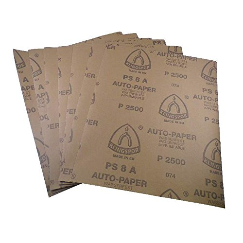 Wasserschleifpapier 10 Blatt P2000/ Maße 230 mm x 280 mm / Nass-Schleifpapier / bestes Oberflächenfinish / flexibles Trägerpapier / kurze Einweichzeiten / optimale Anpassung an die Objektkonturen / hohe Abtragsleistung durch gleichmäßige Rauhtiefe / Aufpolieren mit Hochglanzpolituren / kleine Ausschleifungen von Staubeinschüssen