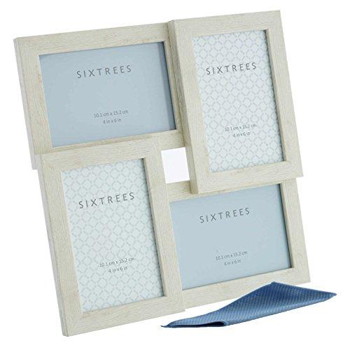 Sixtrees WD206-4C - Cornice portafoto con apertura multipla, per quattro foto da 15,2 x 10,2 cm, con panno in microfibra