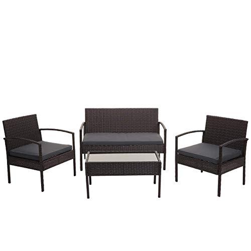 Mendler Poly-Rattan Garnitur HWC-F56, Balkon-/Garten-/Lounge-Set Sitzgruppe - braun, Kissen dunkelgrau