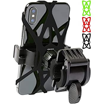 Mongoora Bike & Motorcycle Phone Mount w/ 3 Bands  Black Red Green  Cell Phone Holder for Bicycle Handlebar Easy to Install Bike Accessories