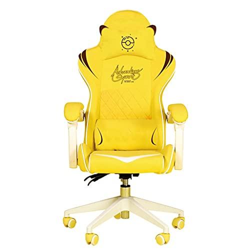 Silla de escritorio para computadora Silla de juego amarillo con el reposacabezas y el soporte lumbar, la silla de la computadora del respaldo lindo del hogar, la ascensora de la silla giratoria de la
