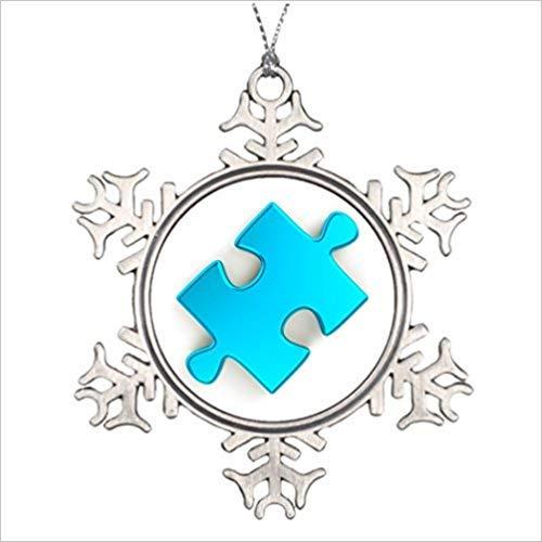 Cukudy gepersonaliseerde kerstboom decoratie 3D puzzel stuk metallic licht blauw unieke kerst decoraties bereiken