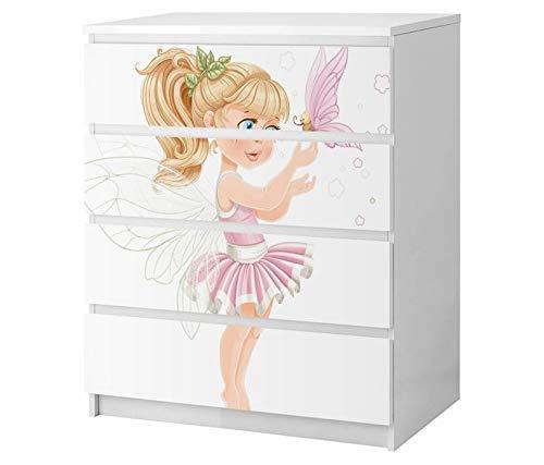 Set Möbelaufkleber für Ikea Kommode MALM 4 Fächer/Schubladen Mädchen süß rosa Schmetterling Ballerina Ballett Kat2 Kinderzimmer ML4 Aufkleber Möbelfolie sticker (Ohne Möbel) Folie 25B2722