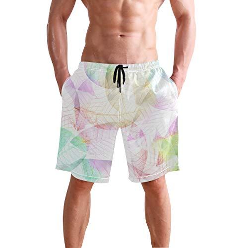 Costume da Bagno Corto, da Uomo, con Motivo a Foglie, ad Asciugatura Rapida, per Spiaggia, Sport, Corsa, con Fodera in Rete Sx001 XL