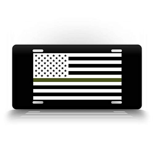 SignsAndTagsOnline Tactical Military American Flag Green Line License Plate Patriotic USA Auto Tag AR15 US Army Badge Patch Black & White