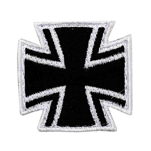Café Viereck ® Eisernes Kreuz Bundeswehr Patch Gestickt mit Klett – 4 cm x 4 cm