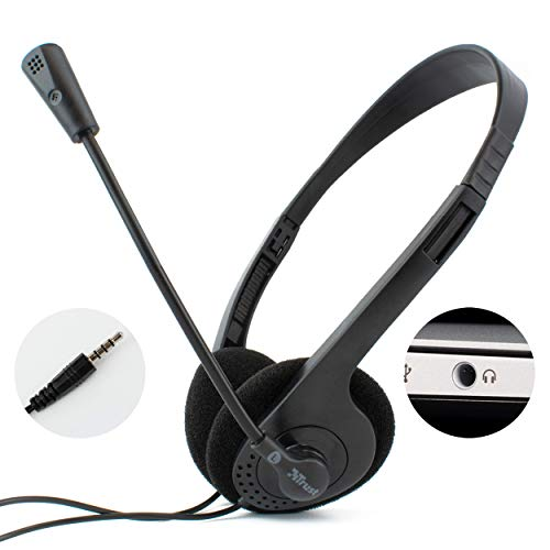 I-CHOOSE LIMITED Computer Laptop Headset with Stereo Microphone | Single 3.5mm TRRS Connector | Lightweight Stereo Headphones | Adjustable Flexible Mic | Zoom Meeting or Skype Multimedia Live Chat