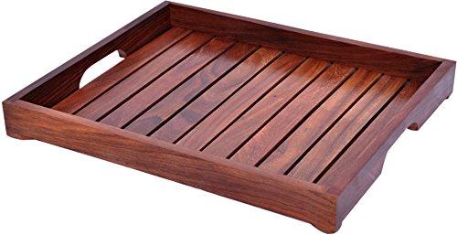 Holz-Serviertablett, Palisander Sheesham Holz Indische Handarbeit für Serviertablett/Esstisch. 15x12.5 inch Style 2