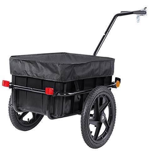 Chariot à Vélo, Remorque de Vélo Remorque de Bicyclette Chariot de Transport Haute Traction avec Barre d'Attelage Panier en Plastique et Couverture en Tissu Capacité 70L Charge Max. 70kg en Noir