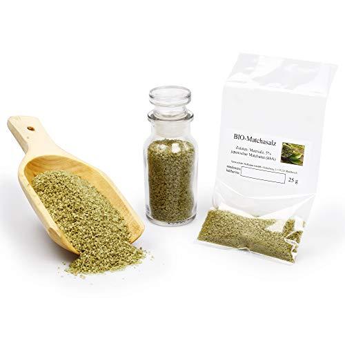 BIO Matchasalz mit Matcha Tee aus Japan und 5% Meersalz naturbelassen | unbehandelt ohne Zusätze vegan glutenfrei | 25g