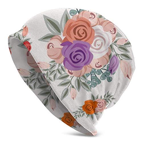 XCNGG Vintage Acuarela Flor Adorno Suave Slouchy Beanie Sombreros Gorra de Calavera Holgada Larga Diaria - Hombres y Mujeres