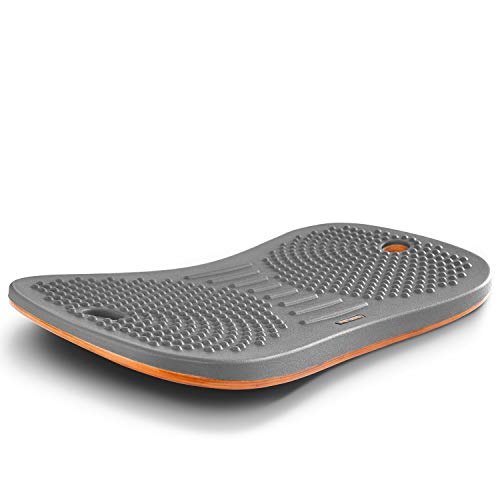 FEZIBO Standing Desk Anti Fatigue Mat Wooden Wobble Balance Board Stability Rocker with Ergonomic Design Comfort Floor Mat Large Altostratus Gray