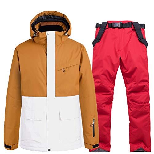 Hbao Herren- und Damen-Skijacke + Träger, Schneehosen, Lätzchen, Schneeanzug, Skianzug, wasserdichte Kleidung, Winter-Outdoor-Kleidung (Color : Red, Size : XX-Large)
