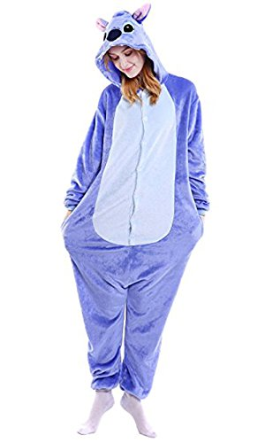 WOWcosplay Jumpsuit Tier Cartoon Fasching Halloween Kost¨¹m Sleepsuit Cosplay Fleece-Overall Pyjama Schlafanzug Erwachsene Unisex Kigurumi Tier ,Blau-Stich L