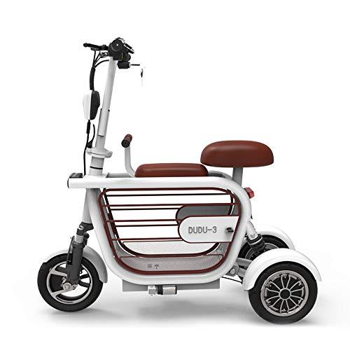 Ddl 3-Rad Elektroroller, Lithium Lady Mini Bike Straßenbahn 18650 48VZwei Sitze mit großem Stauraum, für Reiten und Sitzen, EIN-Knopf-Start,Weiß,10A