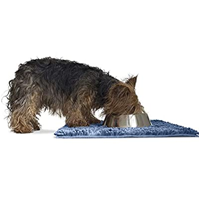 Furhaven Pet Dog Mat - Muddy Paws Absorbent Chenille Shammy Bath Towel and Food Mat Rug for Dogs and Cats, Blue, Small