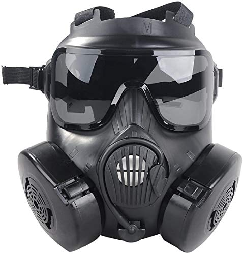M50 Airsoft Tactical Protective Gas Mask, Full Face Eye Protection Goggles Skull Dummy Toxic Gas Mask with Dual Filter Fans Adjustable Strap for BB Gun CS Game Cosplay Costume Halloween Masquerade
