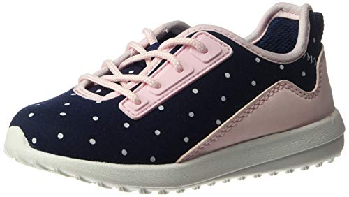 carter's Girls' Paow Mesh Athletic Sneaker with Bungee Laces, Navy/Pink, 6 M US Toddler