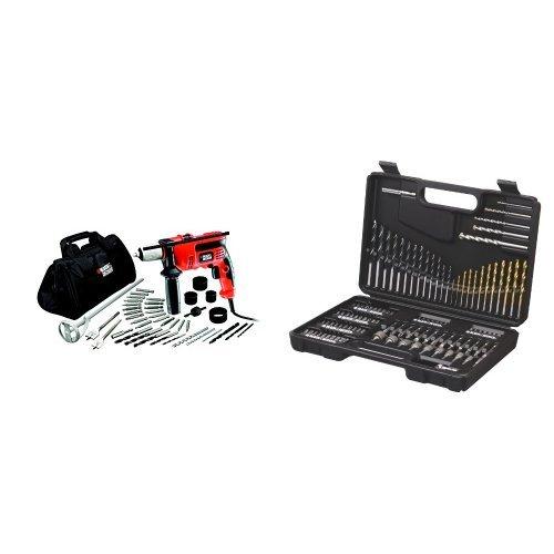 """Black and Decker CD714CREW2-QS - 1Taladro percutor de 710W con 40 accesorios y bolsa de almacenaje. + A7200-XJ - Kit para taladrar y atornillar 109 piezas. Bs """"Titanio"""""""