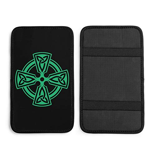 Ovx Celtic Cross Knot Irish Shield Warrior Car Center Console Armrest Pad Seat Box Cover Universal Fit Car Armrest Cover Cushion