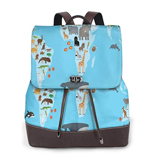 Women's Leather Backpack,Guide World Map Animals Living Places Kids Discovery Safari Earth,School Travel Girls Ladies Rucksack