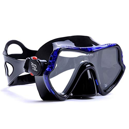 EXP VISION Scuba Diving Mask - Professional Snorkeling Gear Mask - Ultra Clear Lens with Wide View Tempered Glass Goggles,Scuba Diving Equipment Mask,Anti-Leakage Silicone Swimming Goggles Mask,Blue