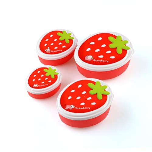 Cajas de almuerzo 4 piezas Caja de almuerzo térmica de plástico de fresa con tapa Contenedor de almacenamiento de utensilios Para NiñOs Snacks, Frutas, Viajes, OrganizacióN Del Hogar