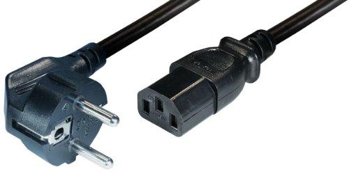 Transmedia Geräte-Anschlusskabel, Schutzkontakt-Stecker gewinkelt, Kaltgerätekupplung IEC320 C13, Länge: 1.5 m, schwarz N5WL