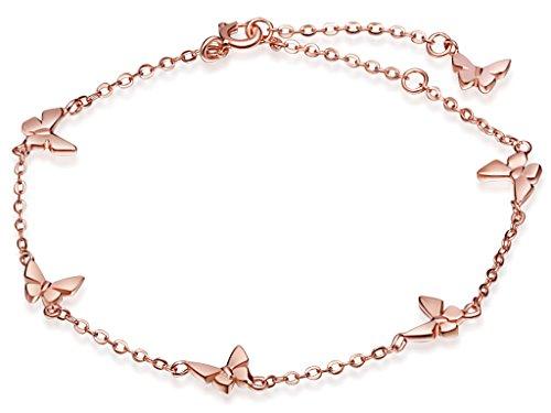 Infinite U: Bonita pulsera para mujer en plata fina con 6 mariposas y con cadena ajustable. Enchapada en oro rosa.