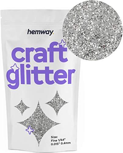 """Hemway Craft Glitzerbeutel für Kunsthandwerk Becher Schulen Papier Glas Dekorationen Heimwerkerprojekte - 1/64"""" 0,04mm- Silber"""
