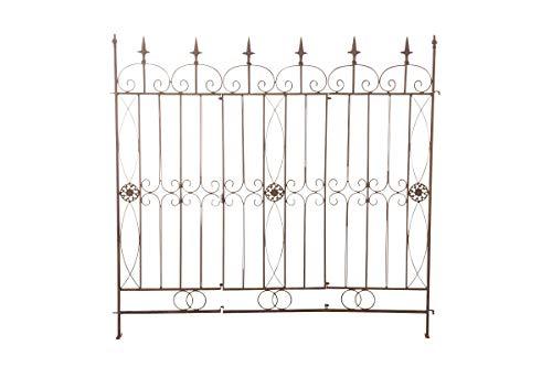 CLP Eisen-Gartenzaun Mangold I Individuell erweiterbarer Rankzaun I Rankgitter im Landhausstil I erhältlich, Farbe:antik braun