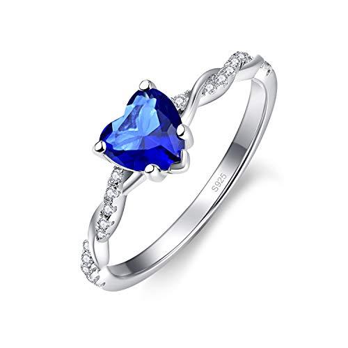 BONLAVIE Bague Coeur en Argent pour Femme Solitaire Coeur Bleu Saphir Bague de fiançailles en Argent Sterling Taille 54