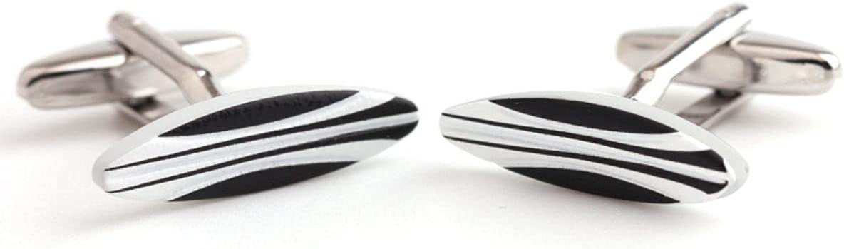 BO LAI DE Men's Cufflinks Black and White Striped Enamel Cufflinks Shirt Cufflinks Suitable for Business Events, Conferences and Dances, with Gift Box