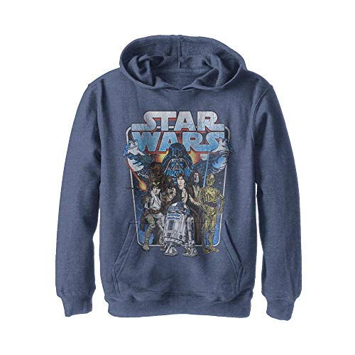 Star Wars Boys' Hooded Pullover Fleece, Navy Heather, X-Large