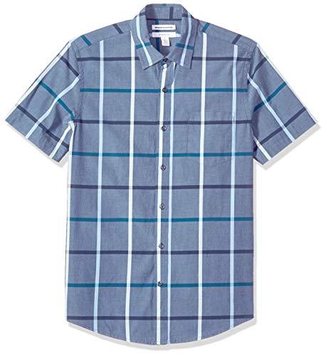 Amazon Essentials Herrenhemd, schmale Passform, kurzärmlig, Popeline, Denim Large Plaid, US M (EU M)