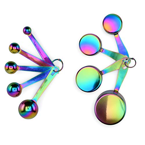 Measuring Cups and Spoons Set Stainless Steel Titanium-Coated 9 Pieces Stackable Engraved Measurements Rainbow Iridescent Multicolor Colorful
