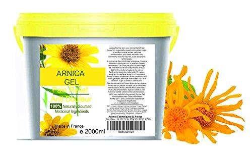 90% Gel de Árnica Montana 2000 g Acción Rápida Remedio herbal 100% Natural para Aliviar el Dolor Anti-inflamatorio Analgésico golpes traumatismos l Deporte