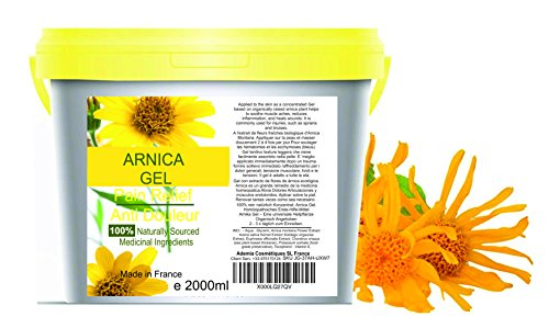 90% Gel de Árnica Montana 2000 g Acción Rápida Remedio herbal 100% Natural para Aliviar el Dolor Anti-inflamatorio Analgésico golpes traumatismos l Deporte