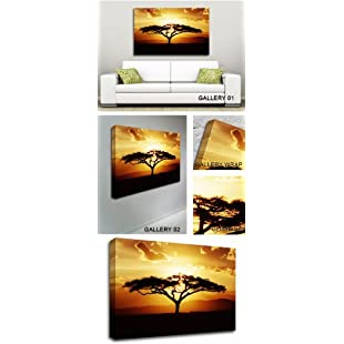 GFM Painting Handmade Oil Painting Reproductions of African Tree at Sunset Contemporary Art,Oil Painting by Modern Art Abstract Art Contemporary Art - 72 By 96 inches:Peliculas-gratis