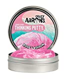 "Crazy Aaron's Thinking Putty 4"" Tin – Liquid Glass ""Rose Lagoon"" – Crystal Clear Pink Butty – Never Dries Out"