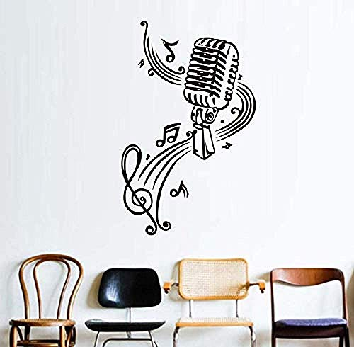Etiqueta De La Pared Micrófono Y Notas Musicales Pegatinas De Pared Murales De Arte Tatuajes De Pared Para Niños Sala De Estar Decoración Para El Hogar Pegatinas De Vinilo 58X92 Cm