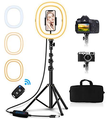 Babacom Aro de Luz con Tripode, Ring Light 10.2' Portátil Plegable con 3 Color Modos, Control Remoto Bluetooth, Bolsa de Transporte, Anillo de Luz para Movil TIK Tok, Selfie, Maquillaje, Youtube Live