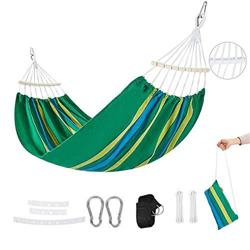 Tentock Hamac de Toile D'extérieur Portable pour 2 Personnes, Lit Suspendu Jardin de Camping pour Trekking, 200 * 100 cm (Vert)