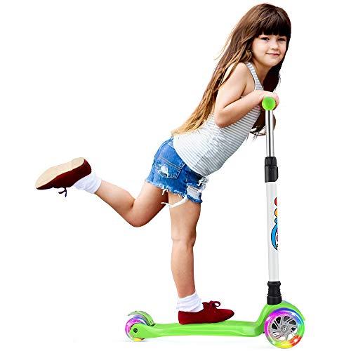 BELEEV Kinderscooter Dreirad für Kinder Kleinkinder Mädchen und Jungen, kinderroller von 3 bis 12 Jahren, 3 LED Räder Roller Scooter mit 4 Höhenverstellbare und Verstellbare Lenker(Grün)