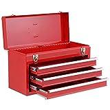 COSTWAY Caja de Herramientas Almacenamiento Metálica Portátil 3 Cajones + Bandeja 52x21,5x30cm (Rojo)