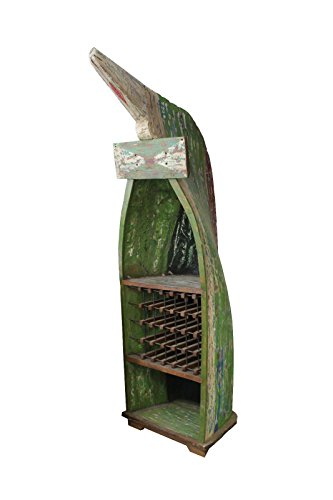 Teaktown Único Teca Botellero Boot 255x 83cm Vintage Esmalte Verde Blanco Estantería Estante