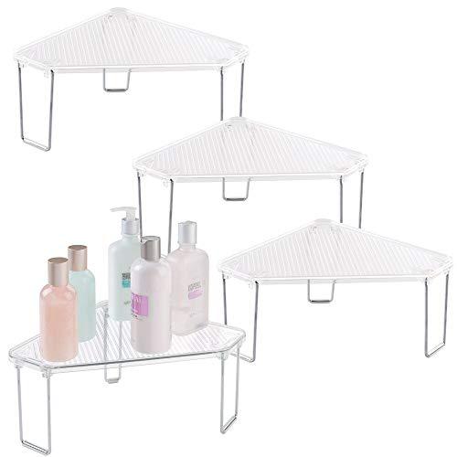 mDesign Juego de 4 estanterías rinconeras para baño – Estantes de baño de pie para el lavabo – De plástico de calidad – Organizadores de baño con 2 estantes para guardar cosméticos – transparente