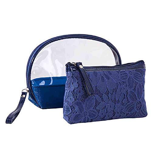 OYHBGK 2 Unids Conjuntos Mujeres PVC Bolsa de maquillaje Kits de aseo de lavado de encaje Bolso cosmético Mujer Portátil PU Organizador de viaje Bolsa de aseo