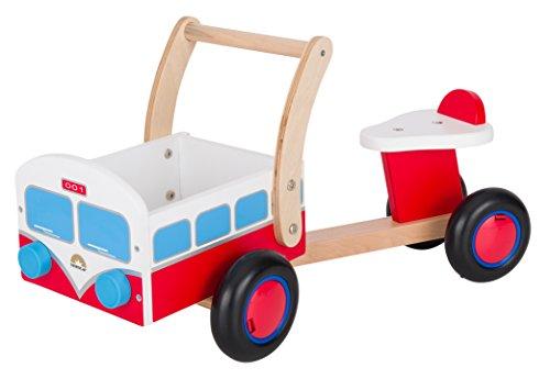 BIKESTAR Rutscher Rutschfahrzeug Rutschauto Lauflernwagen für Kinder und Kleinkinder ab 1 – 1,5 Jahre ★ Holz Feuerwehr Auto Kinderfahrzeug mit Lenkung, Flüsterreifen und Ladefläche ★ Rot