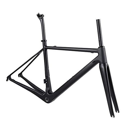 TQ Cuadro de Bicicleta de Carretera de Carbono T1000 Completo y Juego de Ruedas de 50 mm Cuadro de Carbono de Bicicleta de Carrera BSA 700C Tamaño 46/48/51/54 cm,Frameset,48cm